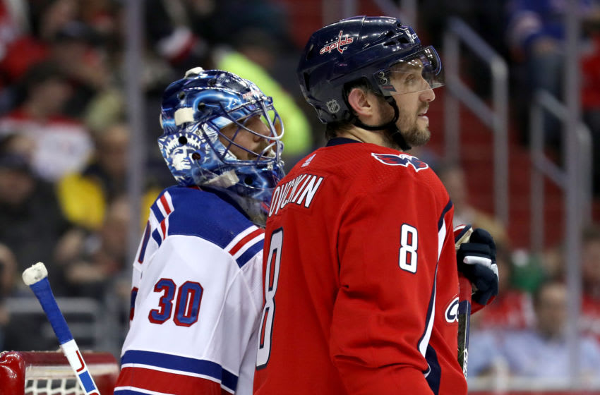 Henrik Lundqvist #30 of the New York Rangers and Alex Ovechkin #8 of the Washington Capitals (Photo by Rob Carr/Getty Images)