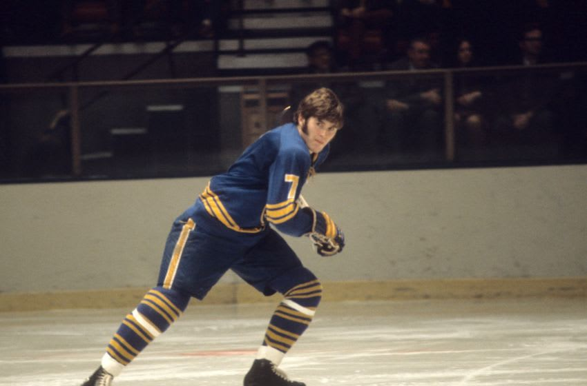 1974: Rick Martin #7 of the Buffalo Sabres skates on the ice during an NHL game circa 1974. (Photo by Melchior DiGiacomo/Getty Images)