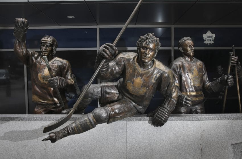 TORONTO, ON - JANUARY, 21 - Darryl Sittler comes over the boards flanked by Borje Salming (left) and Ted Kennedy (right) Outside of the Air Canada Centre (ACC), the Toronto Maple Leafs have their Legends Row. The set of bronze sculptures depict some of the great players of years gone by on the bench. Maple Leafs will soon add Keon, Broda and Horton to Legends Row. (Richard Lautens/Toronto Star via Getty Images)