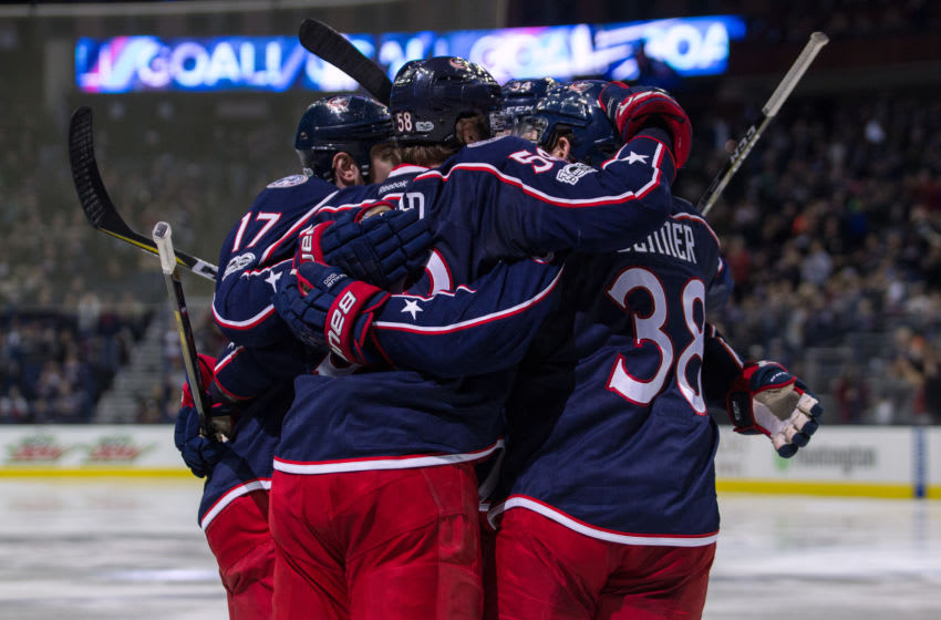 COLUMBUS, OH - MARCH 22: Members of the Columbus Blue Jackets celebrate a goal during a regular season game between the Columbus Blue Jackets and Toronto Maple Leafs on March 22, 2017, at Nationwide Arena in Columbus, OH. The Columbus Blue Jackets lost 5-2 to the Toronto Maple Leafs. (Photo by Michael Griggs/Icon Sportswire via Getty Images)