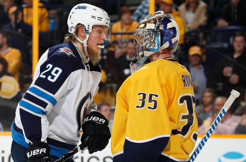 Pekka Rinne Patrik Laine (Photo by John Russell/NHLI via Getty Images)