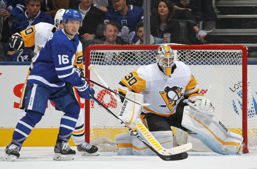 Matt Murray (#30), Pittsburgh Penguins and Mitch Marner (#16), Toronto Maple Leafs (Photo by Claus Andersen/Getty Images)