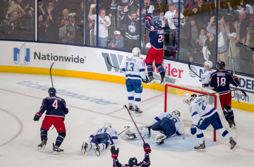 COLUMBUS, OH - APRIL 16: Columbus Blue Jackets right wing Oliver Bjorkstrand (28) celebrates after scoring a goal in the Stanley Cup first round playoff game four between the Columbus Blue Jackets and the Tampa Bay Lightning on April 16, 2019 at Nationwide Arena in Columbus, OH. (Photo by Adam Lacy/Icon Sportswire via Getty Images)