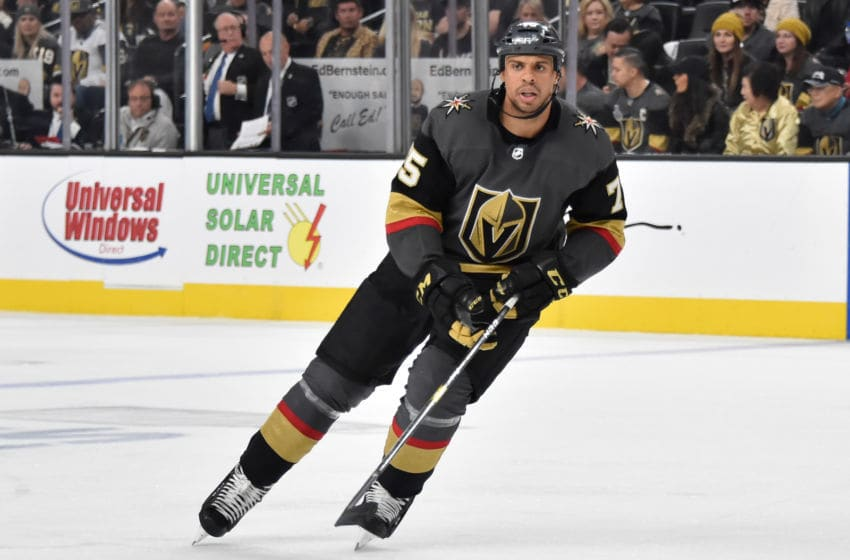 LAS VEGAS, NV - APRIL 16: Ryan Reaves #75 of the Vegas Golden Knights skates during the second period against the San Jose Sharks in Game Four of the Western Conference First Round during the 2019 NHL Stanley Cup Playoffs at T-Mobile Arena on April 16, 2019 in Las Vegas, Nevada. (Photo by David Becker/NHLI via Getty Images)