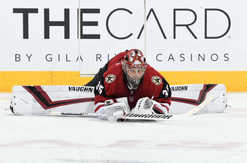 GLENDALE, AZ - MARCH 31: Darcy Kuemper #35 of the Arizona Coyotes prepares for a game against the Minnesota Wild at Gila River Arena on March 31, 2019 in Glendale, Arizona. (Photo by Norm Hall/NHLI via Getty Images)