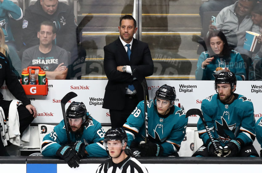 SAN JOSE, CALIFORNIA - OCTOBER 04: San Jose Sharks assistant coach Bob Boughner watches the Sharks play against the Vegas Golden Knights at SAP Center on October 04, 2019 in San Jose, California. (Photo by Ezra Shaw/Getty Images)
