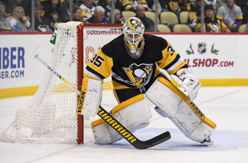 PITTSBURGH, PA - NOVEMBER 25: Pittsburgh Penguins Goalie Tristan Jarry (35) tends net during the first period in the NHL game between the Pittsburgh Penguins and the Calgary Flames on November 25, 2019, at PPG Paints Arena in Pittsburgh, PA. (Photo by Jeanine Leech/Icon Sportswire via Getty Images)