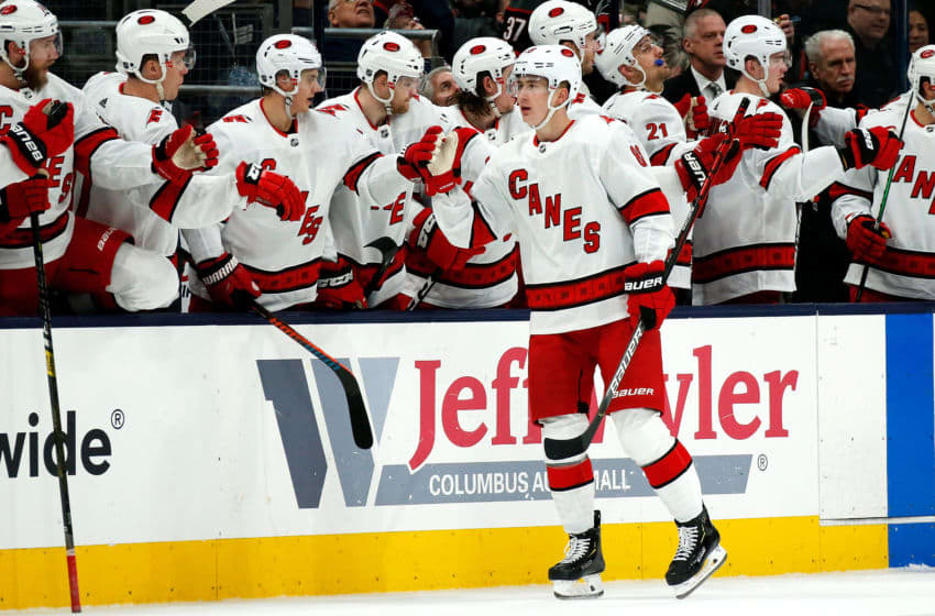 COLUMBUS, OH - JANUARY 16: Martin Necas #88 of the Carolina Hurricanes is congratulated by his teammates after scoring a goal during the game against the Columbus Blue Jackets on January 16, 2020 at Nationwide Arena in Columbus, Ohio. (Photo by Kirk Irwin/Getty Images)