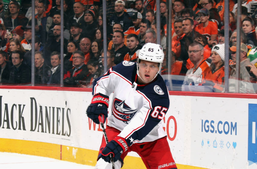 Markus Nutivaara #65 of the Columbus Blue Jackets (Photo by Bruce Bennett/Getty Images)