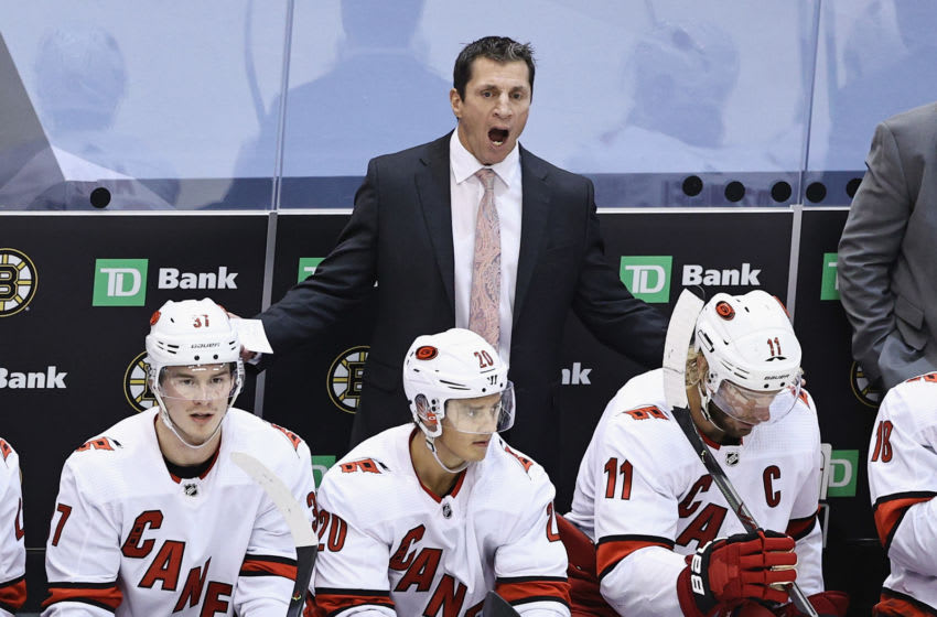Head coach Rod Brind'Amour of the Carolina Hurricanes (Photo by Elsa/Getty Images)