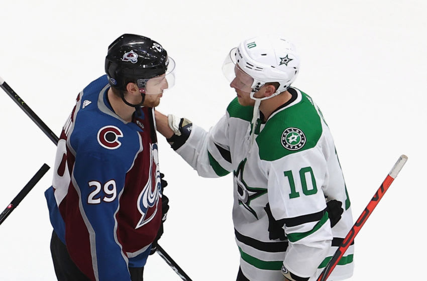 Corey Perry #10 of the Dallas Stars and Nathan MacKinnon #29 of the Colorado Avalanche (Photo by Bruce Bennett/Getty Images)