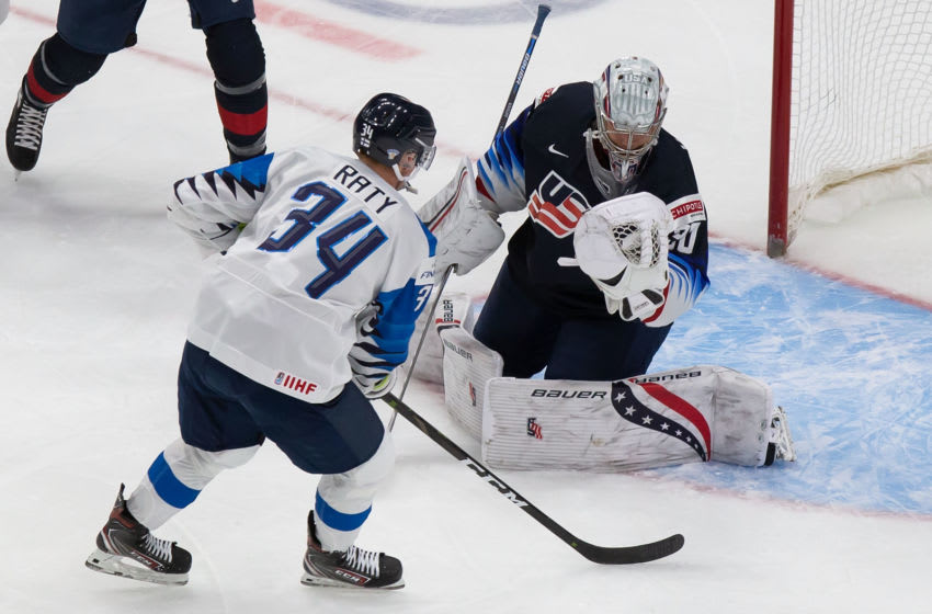 EDMONTON, AB - JANUARY 04: Goaltender Spencer Knight #30 of the United States skates against Aku Raty #34 of Finland during the 2021 IIHF World Junior Championship semifinals at Rogers Place on January 4, 2021 in Edmonton, Canada. (Photo by Codie McLachlan/Getty Images)