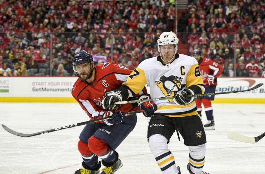 Alex Ovechkin (8) and Sidney Crosby (87) (Photo by Mark Goldman/Icon Sportswire via Getty Images)