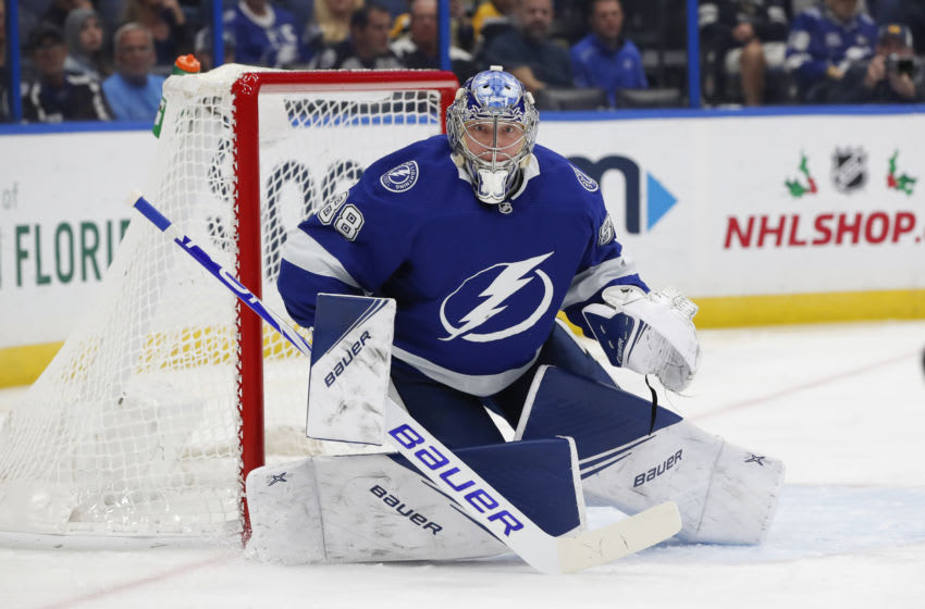 TAMPA, FL - DECEMBER 12: Tampa Bay Lightning goaltender Andrei Vasilevskiy (88) during the NHL game between the Boston Bruins and Tampa Bay Lightning on December 12, 2019 at Amalie Arena in Tampa, FL. (Photo by Mark LoMoglio/Icon Sportswire via Getty Images)