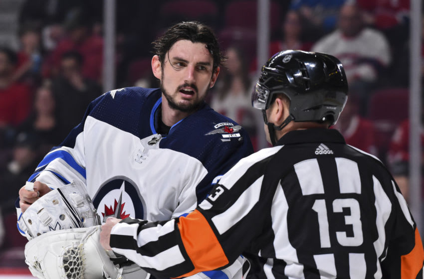 Connor Hellebuyck #37 of the Winnipeg Jets (Photo by Minas Panagiotakis/Getty Images)