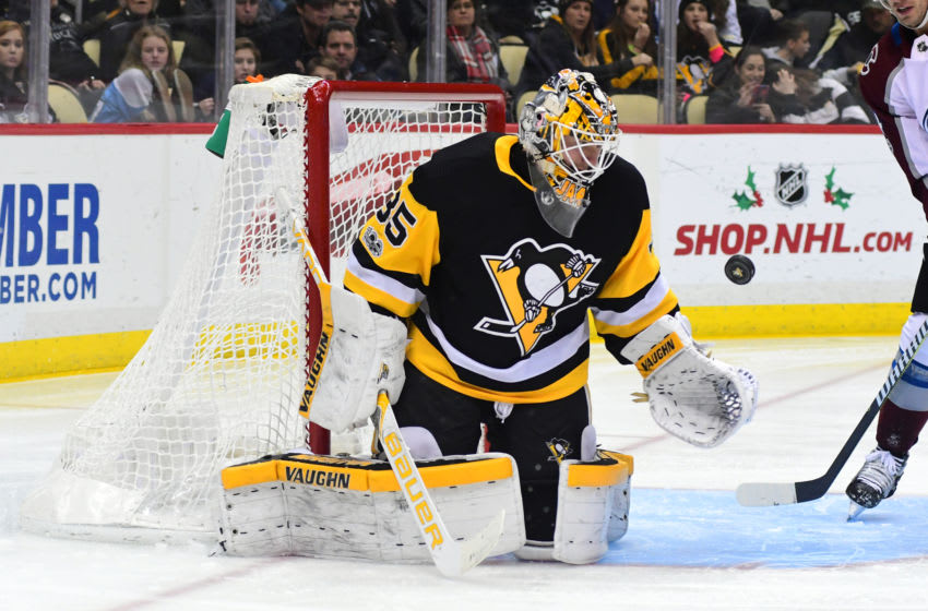 Tristan Jarry #35 of the Pittsburgh Penguins (Photo by Matt Kincaid/Getty Images)