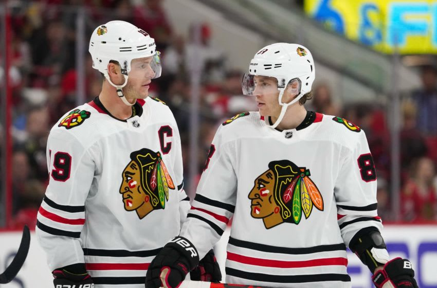Chicago Blackhawks center Jonathan Toews (19) and right wing Patrick Kane (88) (Mandatory Credit: James Guillory-USA TODAY Sports)