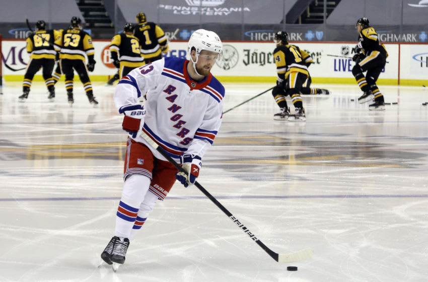 New York Rangers left wing Alexis Lafreniere (13). Mandatory Credit: Charles LeClaire-USA TODAY Sports