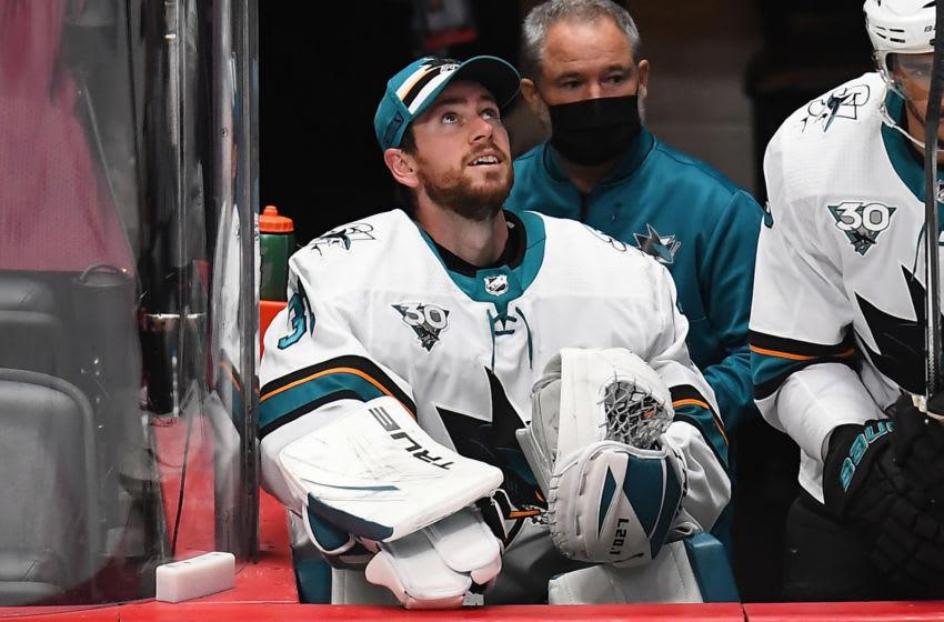 San Jose Sharks goaltender Martin Jones (31). Mandatory Credit: Ron Chenoy-USA TODAY Sports