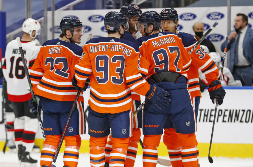 The Edmonton Oilers. Mandatory Credit: Perry Nelson-USA TODAY Sports