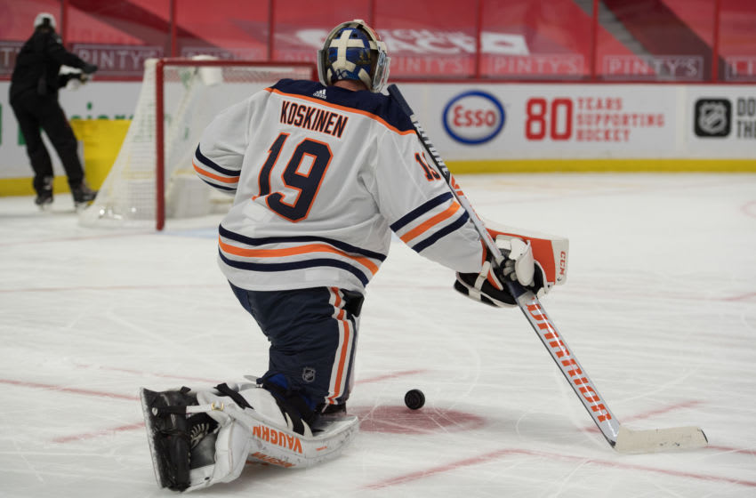Edmonton Oilers goalie Mikko Koskinen (19). Mandatory Credit: Marc DesRosiers-USA TODAY Sports