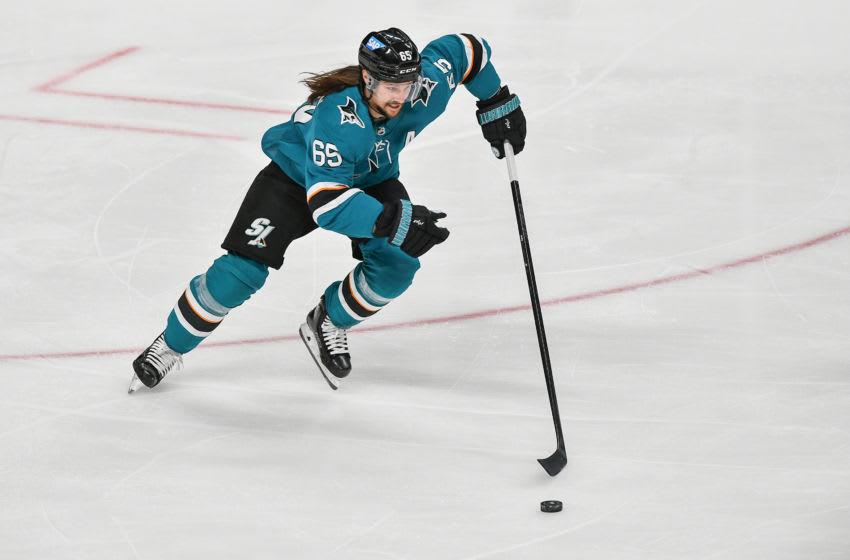 San Jose Sharks defenseman Erik Karlsson (65). Mandatory Credit: Chris Brown-USA TODAY Sports