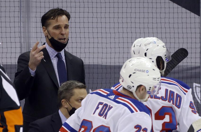 New York Rangers Head Coach David Quinn (left). Mandatory Credit: Charles LeClaire-USA TODAY Sports