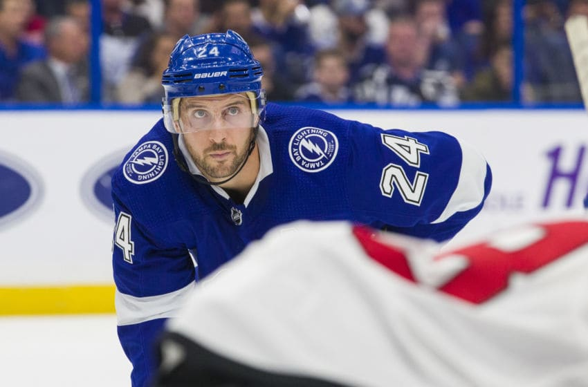 TAMPA, FL - OCTOBER 30: Ryan Callahan #24 of the Tampa Bay Lightning skates against the New Jersey Devils during the first period at Amalie Arena on October 30, 2018 in Tampa, Florida. (Photo by Scott Audette/NHLI via Getty Images)