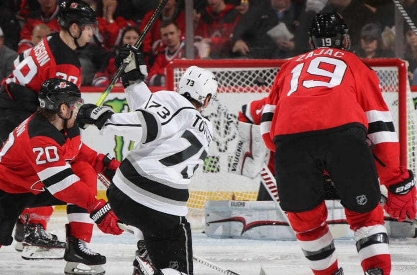 NEWARK, NEW JERSEY - FEBRUARY 05: Tyler Toffoli #73 of the Los Angeles Kings scores at 32 seconds of the third period on the power-play against the New Jersey Devils at the Prudential Center on February 05, 2019 in Newark, New Jersey. The Kings defeated the Devils 5-1. (Photo by Bruce Bennett/Getty Images)