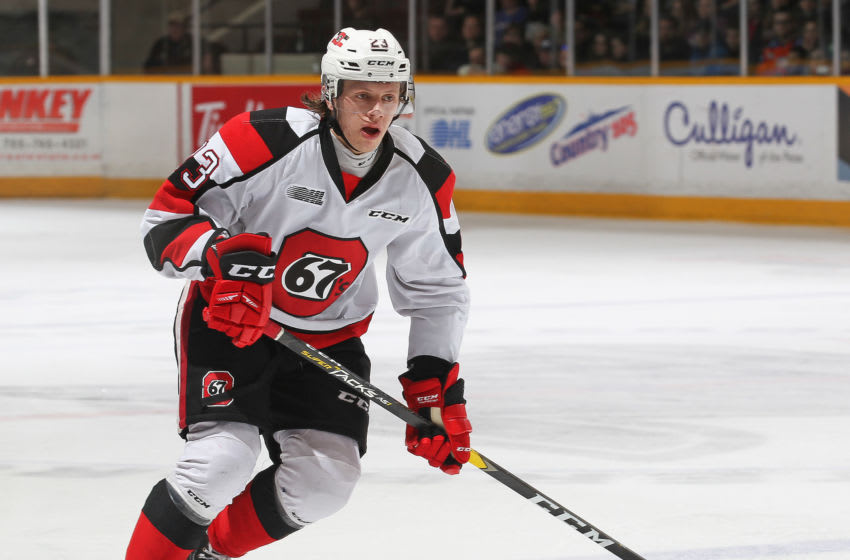 PETERBOROUGH, ON - MARCH 14: Marco Rossi #23 of the Ottawa 67's skates against the Peterborough Petes during an OHL game at the Peterborough Memorial Centre on March 14, 2019 in Peterborough, Ontario, Canada. The 67's defeated the Petes 3-2 in overtime. (Photo by Claus Andersen/Getty Images)