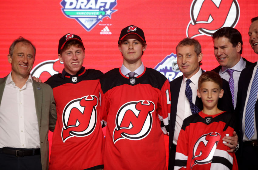 VANCOUVER, BRITISH COLUMBIA - JUNE 21: Jack Hughes sposes after being selected first overall by the New Jersey Devils during the first round of the 2019 NHL Draft at Rogers Arena on June 21, 2019 in Vancouver, Canada. (Photo by Bruce Bennett/Getty Images)