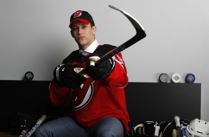 Michael Vukojevic of the New Jersey Devils during the 2019 NHL Draft at Rogers Arena on June 22, 2019 in Vancouver, Canada. (Photo by Kevin Light/Getty Images)