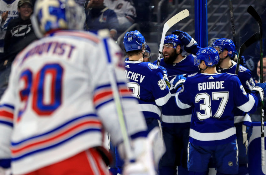 TAMPA, FLORIDA - NOVEMBER 14: Pat Maroon #14 of the Tampa Bay Lightning celebrates a goal during a game against the New York Rangers at Amalie Arena on November 14, 2019 in Tampa, Florida. (Photo by Mike Ehrmann/Getty Images)
