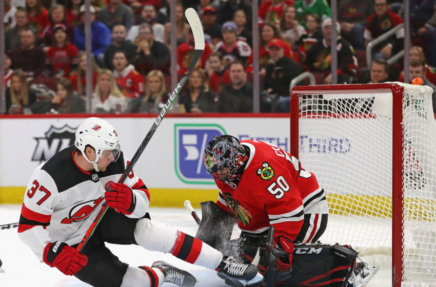 Corey Crawford #50 of the Chicago Blackhawks (Photo by Jonathan Daniel/Getty Images)