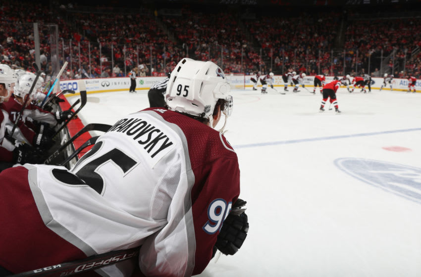NEWARK, NEW JERSEY - JANUARY 04: Andre Burakovsky #95 of the Colorado Avalanche prepares to play against the New Jersey Devils at the Prudential Center on January 04, 2020 in Newark, New Jersey. (Photo by Bruce Bennett/Getty Images)