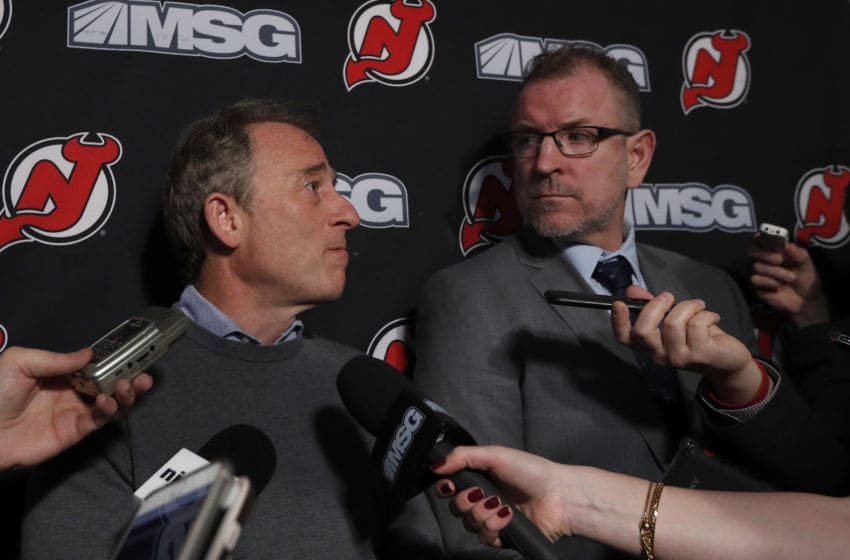New Jersey Devils owner Joshua Harris and Tom Fitzgerald (Photo by Jim McIsaac/Getty Images)