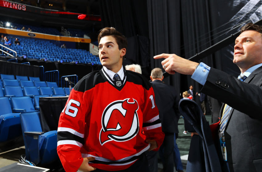 BUFFALO, NY - JUNE 25: Evan Cormier reacts to being selected 105th overall by the New Jersey Devils during the 2016 NHL Draft on June 25, 2016 in Buffalo, New York. (Photo by Bruce Bennett/Getty Images)