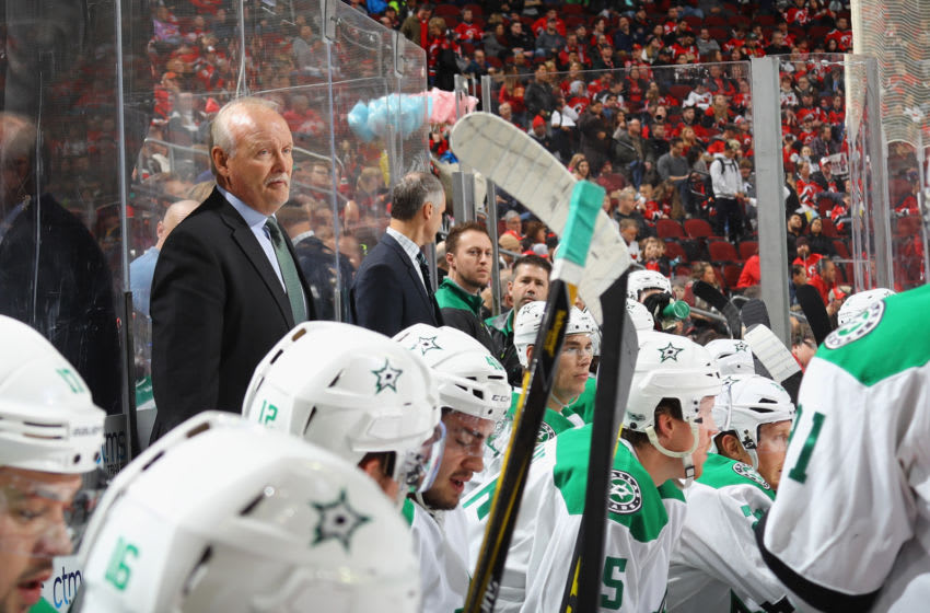 NEWARK, NJ - MARCH 26: Head coach Lindy Ruff of the Dallas Stars handles bench duties against the New Jersey Devils at the Prudential Center on March 26, 2017 in Newark, New Jersey. The Stars defeated the Devils 2-1 in overtime. (Photo by Bruce Bennett/Getty Images)
