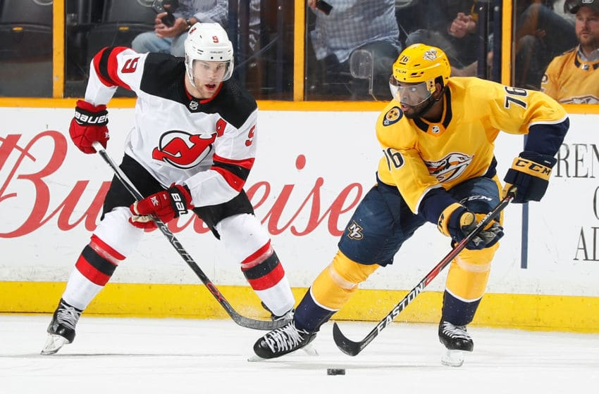 NASHVILLE, TN - MARCH 10: P.K. Subban #76 of the Nashville Predators skates against Taylor Hall #9 of the New Jersey Devils during an NHL game at Bridgestone Arena on March 10, 2018 in Nashville, Tennessee. (Photo by John Russell/NHLI via Getty Images)