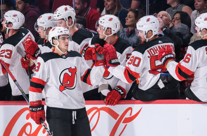 MONTREAL, QC - SEPTEMBER 21: New Jersey Devils center Nico Hischier (13) celebrates with teammates during the second period of the NHL preseason game between the New Jersey Devils and the Montreal Canadiens on September 21, 2017, at the Bell Centre in Montreal, QC (Photo by Vincent Ethier/Icon Sportswire via Getty Images)