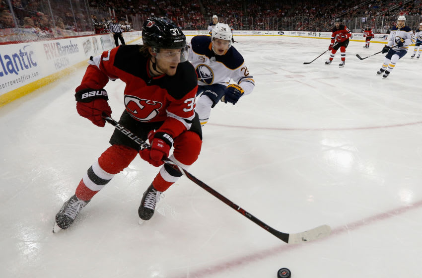 NEWARK, NJ - MARCH 25: Pavel Zacha #37 of the New Jersey Devils in action against the Buffalo Sabres at Prudential Center on March 25, 2019 in Newark, New Jersey. The Devils defeated the Sabres 3-1. (Photo by Jim McIsaac/Getty Images)
