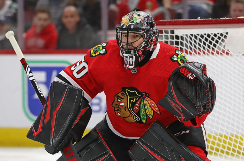 CHICAGO, ILLINOIS - MARCH 05: Corey Crawford #50 of the Chicago Blackhawks minds the net against the Edmonton Oilers at the United Center on March 05, 2020 in Chicago, Illinois. (Photo by Jonathan Daniel/Getty Images)