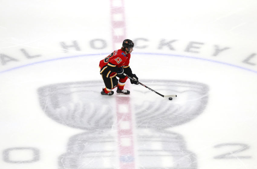Johnny Gaudreau #13 of the Calgary Flames (Photo by Jeff Vinnick/Getty Images)