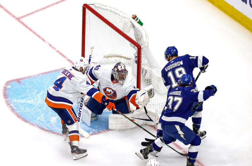 EDMONTON, ALBERTA - SEPTEMBER 15: Semyon Varlamov #40 of the New York Islanders makes the save against Barclay Goodrow #19 of the Tampa Bay Lightning during the second period in Game Five of the Eastern Conference Final during the 2020 NHL Stanley Cup Playoffs at Rogers Place on September 15, 2020 in Edmonton, Alberta, Canada. (Photo by Bruce Bennett/Getty Images)