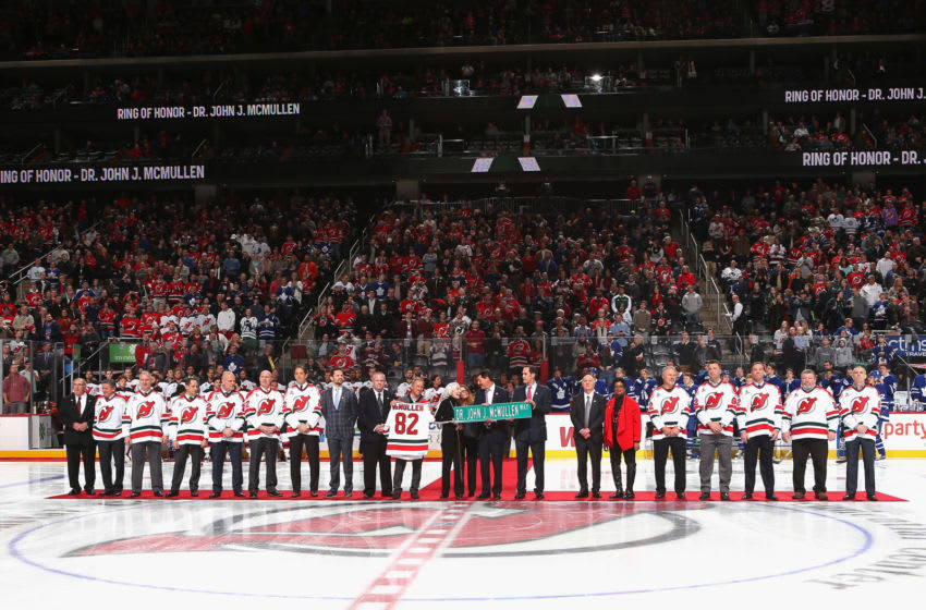 NEWARK, NJ - JANUARY 06: The New Jersey Devils honored Dr. John J McMullen prior to the game against the Toronto Maple Leafs at the Prudential Center on January 6, 2017 in Newark, New Jersey. (Photo by Bruce Bennett/Getty Images)