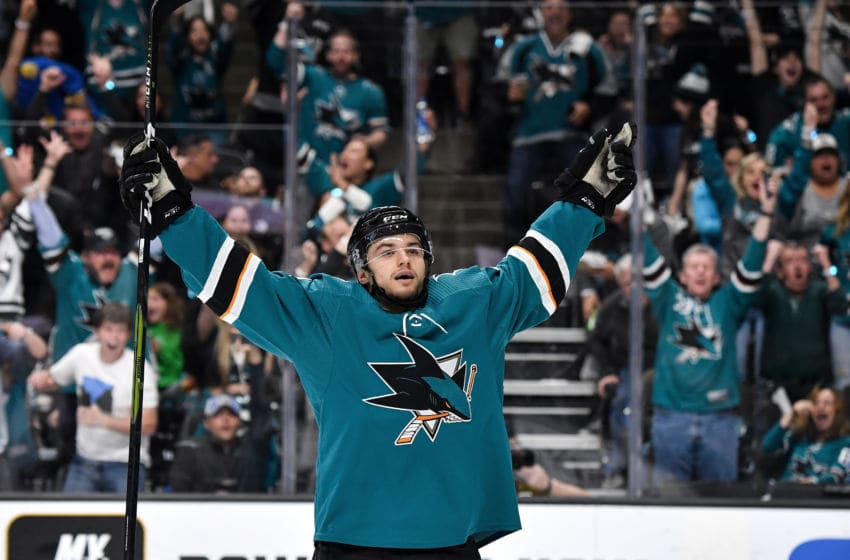 SAN JOSE, CA - APRIL 26: Kevin Labanc #62 of the San Jose Sharks celebrates scoring a goal against the Colorado Avalanche in Game One of the Western Conference Second Round during the 2019 NHL Stanley Cup Playoffs at SAP Center on April 26, 2019 in San Jose, California (Photo by Brandon Magnus/NHLI via Getty Images)