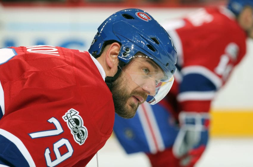 PHILADELPHIA, PA - FEBRUARY 02: Andrei Markov #79 of the Montreal Canadiens looks on during warm-ups prior to his game against the Philadelphia Flyers on February 2, 2017 at the Wells Fargo Center in Philadelphia, Pennsylvania. (Photo by Len Redkoles/NHLI via Getty Images)