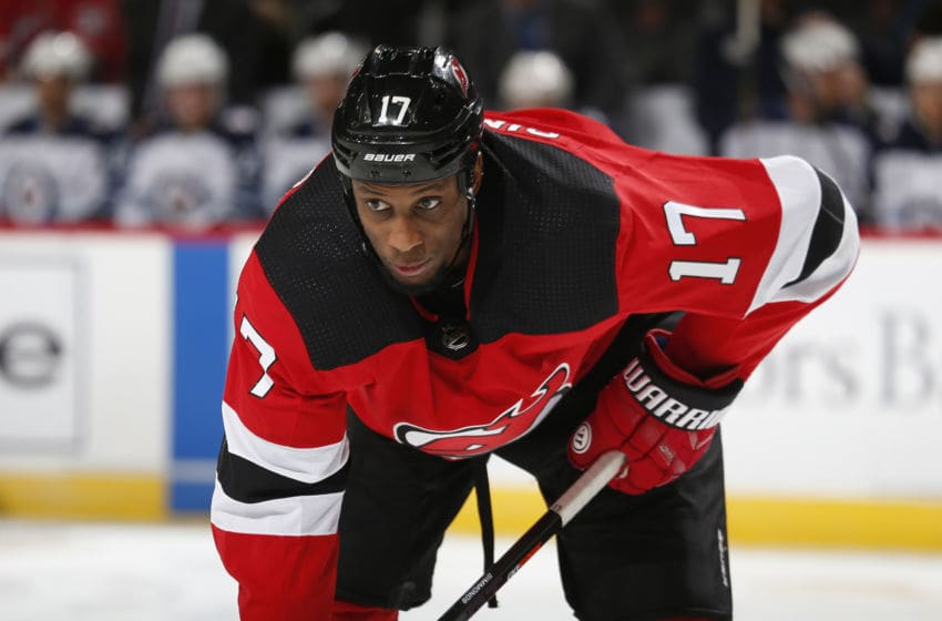 NEWARK, NJ- OCTOBER 04: Wayne Simmonds #17 of the New Jersey Devils playing in his first game with the New Jersey Devils looks on during the game against the Winnipeg Jets on October 4, 2019 at Prudential Center in Newark, New Jersey. (Photo by Andy Marlin/NHLI via Getty Images)