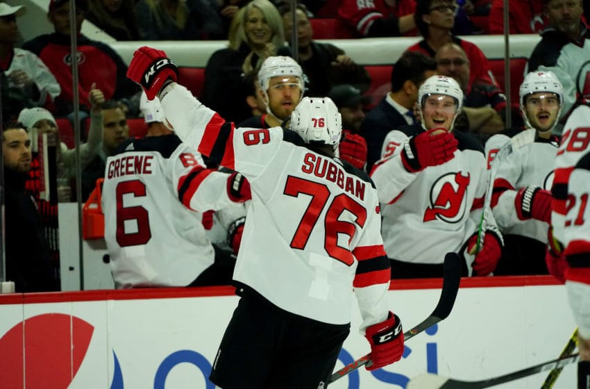 RALEIGH, NC - NOVEMBER 2: P.K. Subban #76 of the New Jersey Devils celebrates with teammates after scoring a goal during an NHL game against the Carolina Hurricanes on November 2, 2019 at PNC Arena in Raleigh, North Carolina. (Photo by Gregg Forwerck/NHLI via Getty Images)