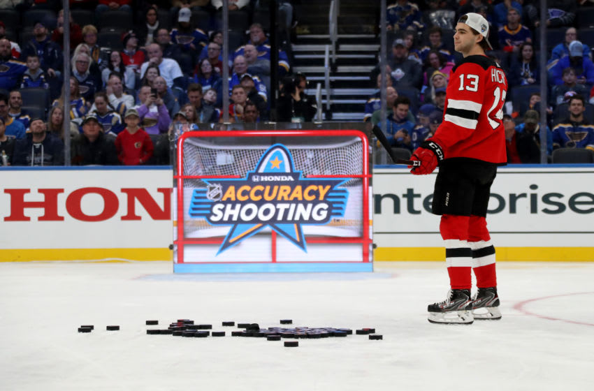 ST LOUIS, MISSOURI - JANUARY 24: Nico Hischier #13h of the New Jersey Devils competes in the Honda NHL Accuracy Shooting during the 2020 NHL All-Star Skills Competition at Enterprise Center on January 24, 2020 in St Louis, Missouri. (Photo by Bruce Bennett/Getty Images)